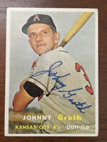 JOHNNY GROTH 1957 TOPPS AUTOGRAPHED SIGNED AUTO BASEBALL CARD 360 ROYALS