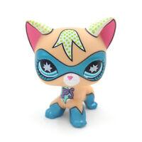 Littlest Pet Shop Masked Super Hero Short Hair Kitty LPS Blue Eyes Cat Comic Con