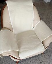Seat Cover in Wave Look White, Chair Cushion, Throw, 100% Wool