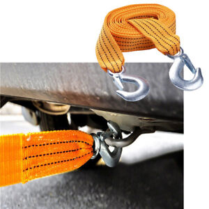 3M 3 Tons Heavy Duty Tow Strap with Hooks Car Tow Cable Towing Strap Rope