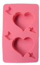 Heart with Arrow 2 Cavity Silicone Mold for Fondant, Gum Paste, Chocolate, Craft