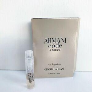 GIORGIO ARMANI Code Absolu For Men Eau de Parfum mini Spray, 1.2ml, Brand New!