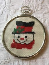 Vintage Counted Cross Stitch Snowman Christmas Tree Ornament Framed Hoop Circle