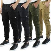 Pantaloni Uomo Cargo in Cotone Pantalone Tasconi Laterali Slim Fit Leggero