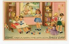 """Have a Happy Time w Us on RALLY DAY"" Children Playing—Jesus—Vintage 1945"