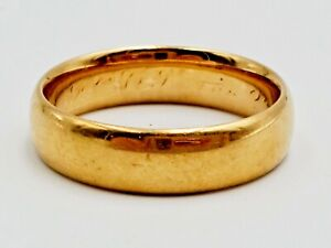 Antique 1879 Tiffany & Co 18K Yellow Gold 4.8mm Wedding Band Size 6, 4.9g