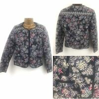 Monsoon Ladies Floral Cotton Quilted Jacket Size 8 36 Navy Festival Boho Summer