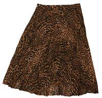 Ralph Lauren Leopard Print Pleated Full Length Womens Skirt 14 NWT Black/Brown