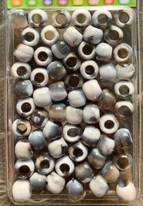 Black & Gray Tie-Dye Hair Beads for braids, twists, locs. Also good for crafts!