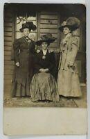 "Victorian Women on Porch ""MERRY WIDOWS"" Huge Hats c1910 RPPC Postcard M17"