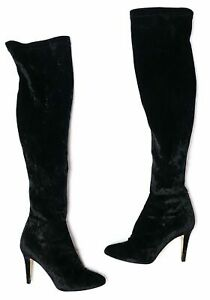 JIMMY CHOO TONI BLACK CRUSHED VELVET OVER KNEE THIGH HIGH BOOTS SIZE 41