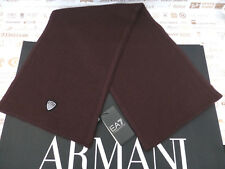 EMPORIO ARMANI Scarf EA7 Badge Rosey Brown Ribbed Wool Blend Scarves BNWT R£90