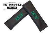 "2x Seat Belt Covers Pads Black Leather ""MGF"" Green Embroidery for MG"