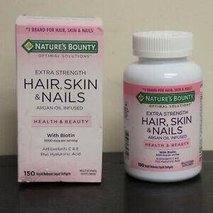 Nature's Bounty Hair Skin Nails Extra Strength w Biotin 150 Softgels Exp 10/2022