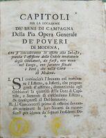 1765 REGOLAMENTO AFFITTO BENI DI CAMPAGNA OPERA GENERALE DEI POVERI DI MODENA
