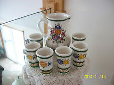Wechsler Tirolkeramik Austria Pottery Handpainted Pitcher & 6 Tumblers Set