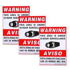 "3xSecurity Warning Alarm Sign Sticker 11.5x8.3"" for CCTV Surveillance System C0L"