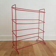Vintage Retro Red Wire Coated Shoe Rack Stand Towel Holder Organiser 60s 70s