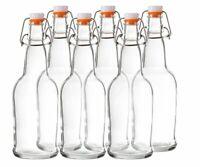 Bellemain Swing Top Grolsch Glass Bottles 16oz Clear For Brewing Kombucha 6 Set