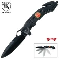 Fire Rescue Black Spring Assisted Opening Folding Pocket Knife