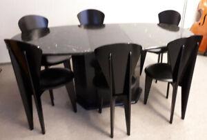 Calligaris-Esstischset mit sechs Stühlen im Retro-Design 70er Jahre, schwarz