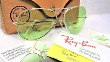 RAY-BAN NOS VINTAGE B&L AVIATOR Green Changeables RB-3 White Gold NEW SUNGLASSES