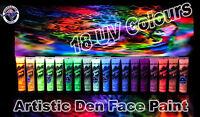 18 x 15ml - UV Glow ULTIMATE Neon Face Body Paint Black Light Set- Artistic Den®