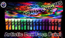 18 X 15ml - UV Glow Ultimate Neon Face Body Paint Black Light Set- Artistic Den