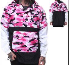 Nwt Camouflage Army Print Lightweight Windbreaker Anorak Jacket Pink Black White
