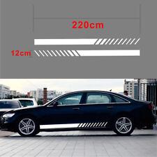 2Pcs 220*12CM Racing Car Auto Decal Sticker Vinyl Graphic Side Long Stripe White