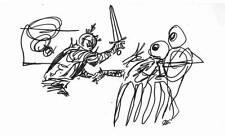 1970s original art by KELLY FREAS. Sci-Fi - 4 1/2 x 6 felt tip pen sketch