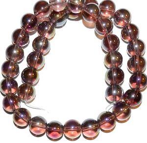 "G2837 Purple AB Transparent 12mm Smooth Round Glass Beads 16"""