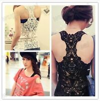 Women Crochet Lace Back Tank Top Sleeveless T-shirt Vest Cami Hollow-out Pierced