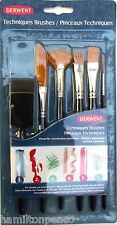 Derwent Art & Craft Technique Set of 6 X Special Effect Paint Brushes