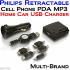 Philips Retractable USB AC/DC MP3 PDA GPS Cell Phone Home Car Charger Adapter
