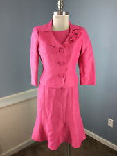 Talbots 4 P Dress Suit Pink linen Silk blend Career Cocktail Formal Sheath EUC