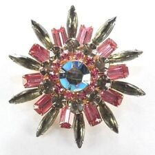 Brooch Pin - Signed Judy Lee - Flower - Pink & Green Rhinestones - Gold Tone