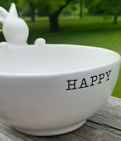 Mud Pie Bunny Candy Dish Happy Bowl White Ceramic Dip Easter Spring Rare Decor