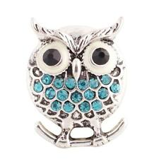 Blue Rhinestone Owl 20MM Snap Button Charm Antiqued Silver Plated New