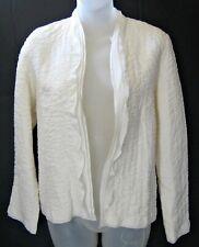 Vtg EILEEN FISHER Cardigan Blazer White Quilted Silk Ruffle Women Sz XS NWT