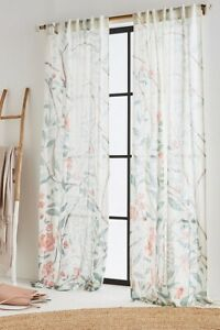 """NWT PAIR (2) 96"""" x 50"""" Anthropologie Lilya Curtains Window Panels Floral Cotton"""