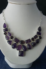 "Beautiful Necklace with 18 Amethyst And 4 Garnet Gems 18"" Inces Long In gift Box"