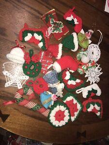 Vintage Lot of 23 Crochet Christmas Ornaments Stockings Snowflakes Mixed Lot