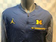 JORDAN Dri-Fit Michigan WOLVERINES Long Sleeve Zipper Blue Jacket Mens Size L