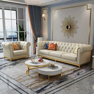 Design Interior Design Sofa Set 3+1 Seat Leather Sofa Living Room Chesterfield