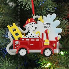 Fire Truck With Dog Personalized Christmas Tree Ornament Holiday Gift 2016