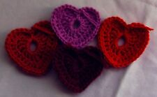 Five Crochet Heart Ornaments (various reds and pink): handcrafted decorative