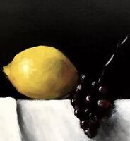 Original oil on panel 20cm x 20cm. Lemon & Grapes. still life By Darren Scott.