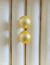 Solid 14K Gold AA+ 9-9.5mm Golden South Sea Pearl Stud Earrings RRP $230