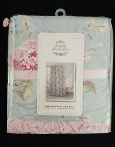 NEW NIP Simply Shabby Chic Shower Curtain Hydrangea Blue Pink Cotton Floral RARE